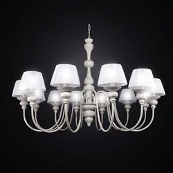 Chandelier Vintage Wooden And Metal White A 12 Lights Bga 2592/12 With Organza