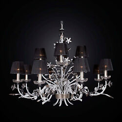 Chandelier Classic Wrought Iron And Crystal 12 Lights Bga 2033-8-4 Cp