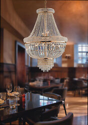 Chandelier Classic Gold With Crystals 9 Lights Lgt Prague Sp9 D.25 5/8in