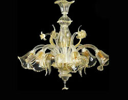 Chandelier 5 Lights Murano Of Venice Original With Warranty Made In Italy 6183/