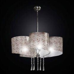 Modern Chandelier In Fused Glass With Flowers 5 Lights Bga 2316-s5