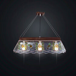 Chandelier Classic In Fused Glass Decorated 3 Lights Bga 2085-s3