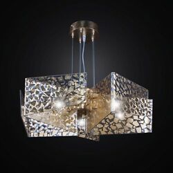 Chandelier Contemporary Fused Glass Gold A 5 Lights Bga 2583/5 Leaf Gold