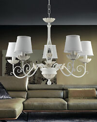 Chandelier Contemporary Wrought Iron White And Porcelain 5 Lights Pre Ls 165/5p