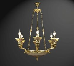 Chandelier Brass And Ceramics Decorated To 6 Lights Coll. Bga 1324 Classic