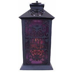 Flameless Halloween Candle Lantern With Timer / Faux Purple Glass / Indoor And Out