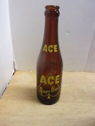 Vintage Ace Ginger Beer 7 Oz Amber Bottle Bright Yellow Acl 1954 Auburn Ny