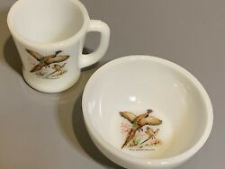 Fire King Wild Game Birds Soup Cereal Bowl D Handle Mug Ring Necked Pheasant