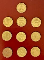 Set Of 10 Delaware Joint Toll Bridge Commission Tokens Pennsylvania New Jersey
