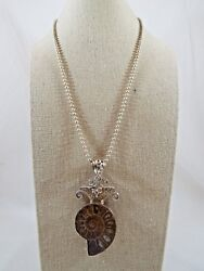 Sterling Silver Ammonite Pendant And Ball Bead Chain Necklace 20 Long