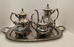 Reed And Barton Vintage 1970s Silverplated Tea And Coffee Serving Set 5 Pieces