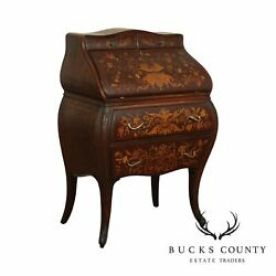 Antique French Style Mahogany Marquetry Inlaid Drop Front Bombe Writing Desk