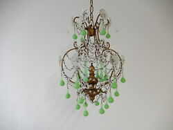 C 1920 French Green Opaline Murano Drops Crystal Prisms Giltwood Chandelier