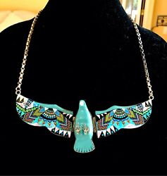 Zuni Sterling Necklace Micro Mosaic Inlay Movable Wings Turquoise Eagle Pendant