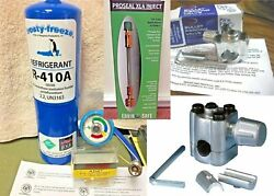 Camper Rv R410a A/c Refill Kit Gauge Line Taps Leak Stop For 1.5 To 5 Ton