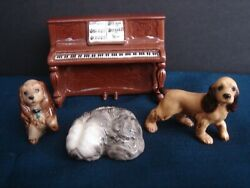 Hagen Renaker Lot Of 4 Mini Figurines Dogs And Piano 2 Cocker Spaniels And Sheep Dog