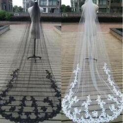 Cathedral Black White Ivory 3M Wedding Veils 1 Tier Lace Decal Bridal Long Veil