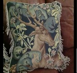 Vintage Deer Tapestry Throw Pillow St. Simons Island - Great Quality And Details
