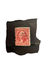 George Washington Red Very Rare 2 Cent Stamp With Perfin/mt