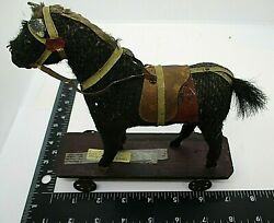 Folk Art Antique Horse Wood Pull Toy Wheels Hand Carved Original Horse Hair