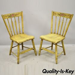 Frederick Loeser And Co Yellow Primitive Hitchcock Style Side Chairs - Pair B