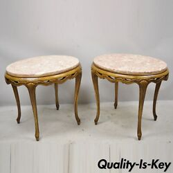 Italian Hollywood Regency Pink Oval Marble Pretzel Carved Side End Tables - Pair