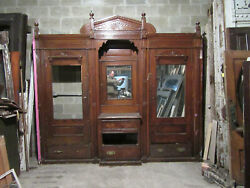 Antique Carved Chestnut Closet Front Built In Armoire 113 X 103 Salvage
