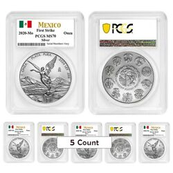 Lot Of 5 - 2020 1 Oz Mexican Silver Libertad Coin Pcgs Ms 70 Fs