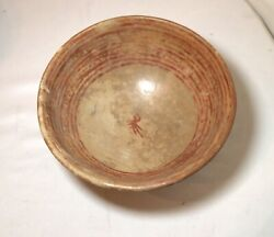 Antique Mayan Mexican Pre Columbian 400-600 A.d. Footed Bowl Pottery Sculpture .