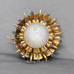 Mid-century Modern Blue Star Sapphire And Sapphire Pendant Brooch In 14k Yellow