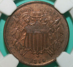 1864 Small Motto Two Cent Piece - Ngc Au Details - 2c