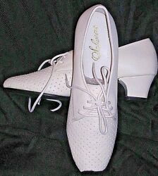 7.5n White Low Heel Lace Up Decorated Shoes Womenand039s Victorian Sofwear New Ladies