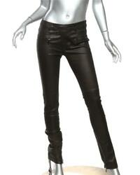 Vince Black Classic Stretch Leather Skinny Jeans Pants Zip-ankle S