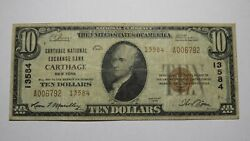 10 1929 Carthage New York Ny National Currency Bank Note Bill Ch. 13584 Rare