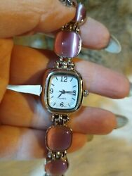 Womens Silvertone And Pink Beads Link Watch