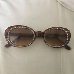 Antique Rhinestone Frame Brown Tortoise Small Size Made In Italy Price Drop