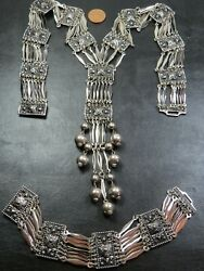 Vintage Mexican Sterling Silver Pendant Necklace And Bracelet Suite C.1950 Hecho
