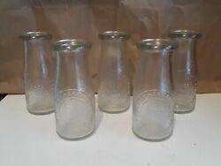 Vintage Dairy Milk Bottle By Heritage Company 1/2 Pint Glass Since 1810 Lot Of 5