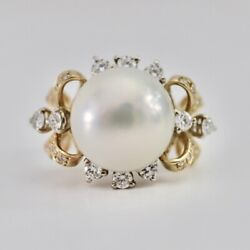 Certified 2.26ct Natural Diamond 15mm South Sea Pearl 14k Yellow Gold Ring 6.25