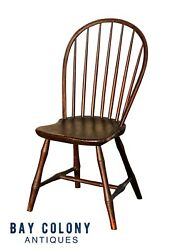 18th C Antique New England Country Primitive Windsor Sack Back Chair