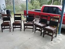 5 Antique Vintage L And Jg Stickley Dining Room Chairs Very Clean Nice Original
