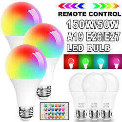 15w150w Rgbw Led Light Bulb E26 A19 Color Changing With Remote / 5w50w Bulb