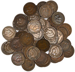 Lot Of 50 Fifty 1909 Indian Head Copper One Cent 1c - Group Of Average Circs