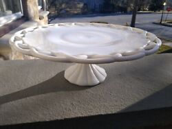 Vintage Open/lace Edge Milk Glass Pedestal Cake Plate Stand 14 X 5 Inches