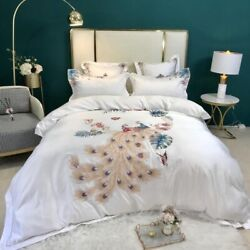 Oriental Bird Embroidery Bedding Bed Silk/cotton Cover Fitted Bed Sheet 4pcs