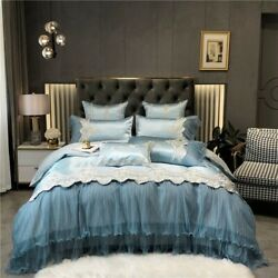 Luxury Silk Cotton Embroidery Bedding Set Deck Lace Edge Duvet Cover Bed Sheet