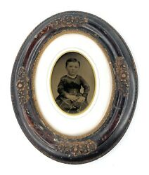 Antique Civil War Era Young Child Full Plate Tintype Flower Carved Oval Frame