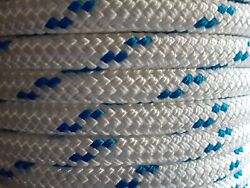 1/2 X 100 Ft Pre-cut Double Braid-yacht Braid Polyester Rope. White/blue