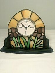 Linden Table Clock Inspired Genuine Stained Glass Painted Garden New