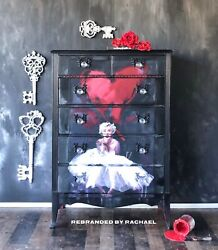 Valentines Tall Vintage Black And Red Marilyn Monroe Funky Dresser Furniture Bed